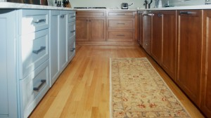 Polaris Blue Island Cabinets and Country Pine Stained Base Cabinets