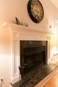 Fireplace mantle with granite hearth